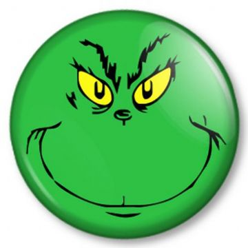 The Grinch that stole Christmas Pinback Button Badge Dr Seuss Xmas Cute Face
